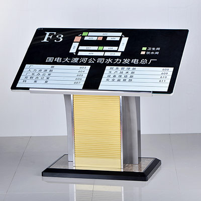 On floor metal display stand indoor